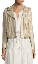 Joie Leolani Metallic Leather Biker Jacket