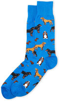 Hot Sox Dog Print Crew Socks
