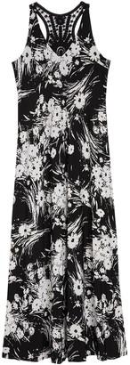 Gabby Skye Floral Crochet Racerback Maxi Dress