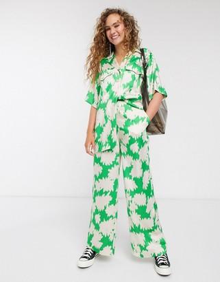 Topshop satin pants co-ord in green print