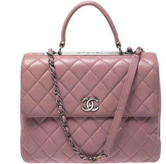 Chanel Old Rose Lambskin Leather Trendy CC Large Top Handle Bag