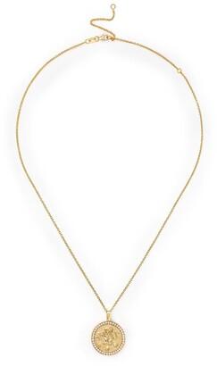 Anita Ko 18kt yellow gold diamond LEO pendant necklace