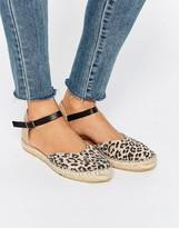 Selected Julia Leopard Two Part Espadrille Flat Sandals