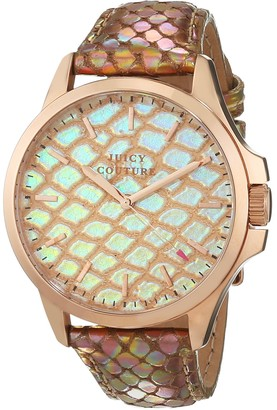 Juicy Couture Jetsetter Women's Quartz Watch with Gold Dial Analogue Display and Gold Leather Strap 1901179