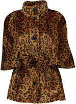 Betsey Johnson Leopard Faux-Fur Lined Cape