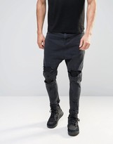 Asos Drop Crotch Jeans With Extreme Rips In Black
