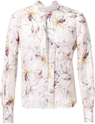 Jason Wu Collection Wild Orchid Silk Blouse