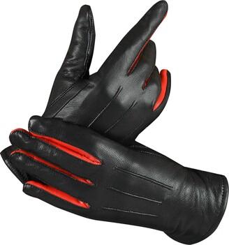 Foxter Bike Wear Women Winter Dress Fashion Gloves Genuine Leather Driving Gloves Winter Warm Thinsulate Fleece Lining Leather Mittens (Large)