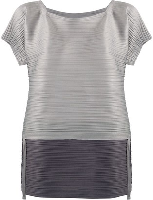 Pleats Please Issey Miyake Micro-Pleated Two-Tone Top