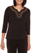 Sag Harbor Artful Animal 3/4-Sleeve Embroidery Top