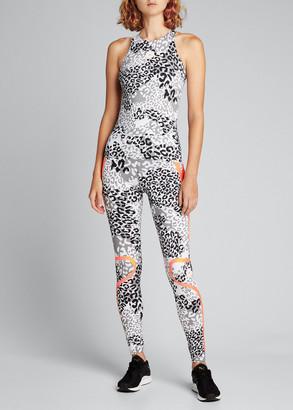 adidas by Stella McCartney Truepace Animal-Print High-Waist Active Tights