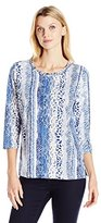 Alfred Dunner Women's Plus Size Animal Printed Embellished T-Shirt