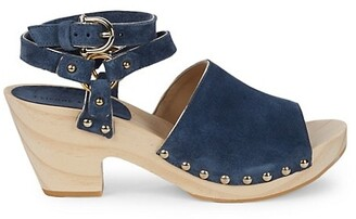 Etienne Aigner Ankle-Strap Leather Clogs