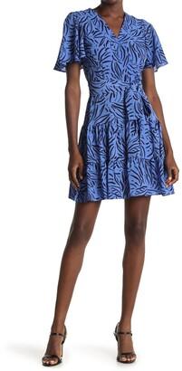 Eliza J Flutter Sleeve Patterned Fit & Flare Dress