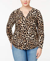 INC International Concepts Plus Size Animal-Print Blouse, Created for Macy's