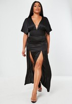 Missguided Plus Size Black Satin Short Sleeve Kimono Maxi Dress