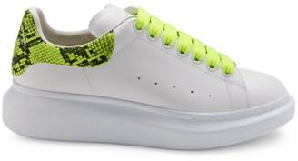 Alexander McQueen Men's Python-Print Neon Platform Sneakers