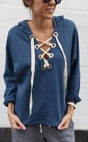 Ily Couture Blue Lace Up Hoodie