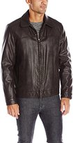 Tommy Hilfiger Men's Smooth Lamb Touch Faux Leather Classic Laydown Collar James Dean