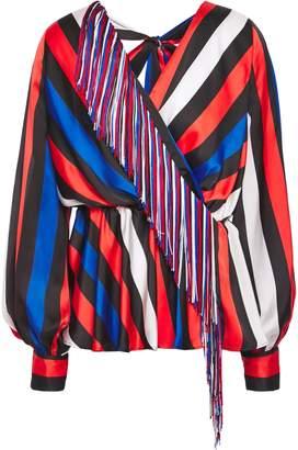 MSGM Fringe-trimmed Striped Satin Blouse