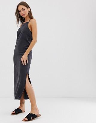 Asos Design DESIGN soft denim midi slip dress in washed black