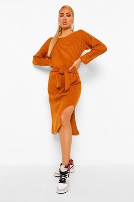 boohoo Belted Rib Knit Midi Dress