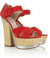 Miu Miu Suede and straw platform sandals
