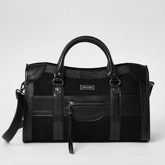 River Island Black zip front large tote bag