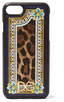 Dolce & Gabbana Printed Textured-leather Iphone 7 Case - Leopard print
