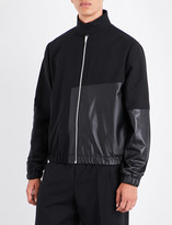 McQ Contrast-panel wool and leather bomber jacket