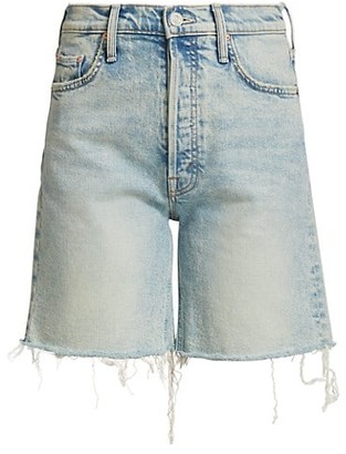 Mother The Tripper Frayed Denim Shorts