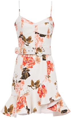 Nicholas Arielle Ruffled Floral-print Cotton-blend Twill Mini Dress
