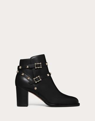 Valentino Rockstud Ankle Boot 70 Mm Women Black Calfskin 100% 35