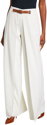 Ralph Lauren Kimberly Pleated Wool Pants w/ Leather Belt