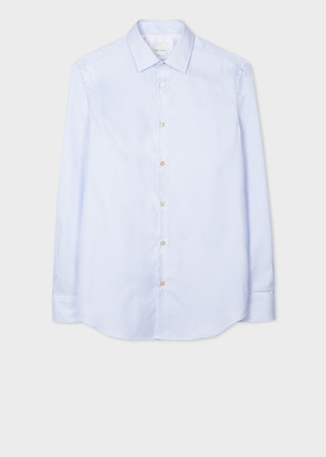 Paul Smith Men's Tailored-Fit Light Blue Mini-Check Shirt With 'Artist Stripe' Cuff Lining
