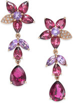 Effy Bordeaux by Multi-Stone (10-9/10 ct. t.w.) and Diamond Accent Flower Drop Earrings in 14k Rose Gold