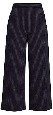 St. John Women's Chevron Stripe Jersey Cropped Wide-Leg Pants