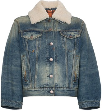 Gucci Guccification print cropped denim jacket