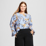 Who What Wear Women's Plus Size Bubble Sleeve Shirt