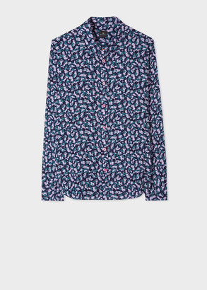 Paul Smith Women's Navy And Lilac Mini Camo Print Shirt