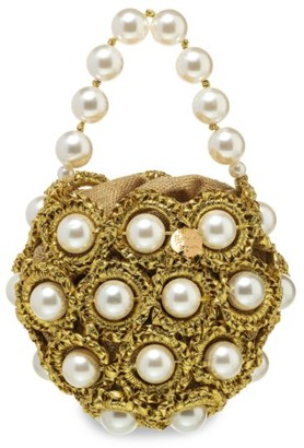 Alameda Turquesa The Life Of The Party Goldie Faux Pearl Glitter Woven Clutch