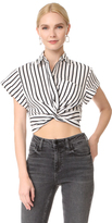 Alexander Wang Striped Twist Front Crop Shirt