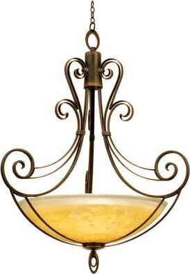 Mirabelle Kalco 6 - Light Unique / Statement Bowl Pendant Kalco Finish: Antique Copper, Shade Type: Art Nouveau Penshell