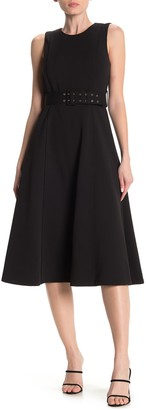 Calvin Klein Elephant Crepe Belted Fit and Flare Midi Dress