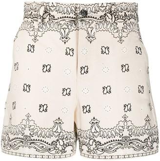 Tory Burch Bandana-Print Cotton Shorts