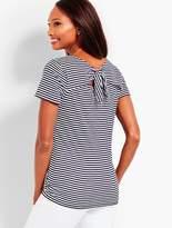 Talbots Pima Cotton Tie-Back Tee - Stripe