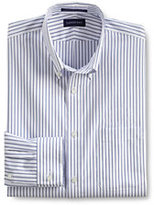 Classic Men's Tall Pattern No Iron Pinpoint Buttondown Dress Shirt-White/Charcoal Gray Stripe