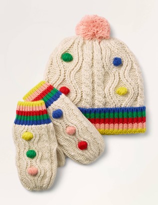 Pompom Hat & Gloves Set
