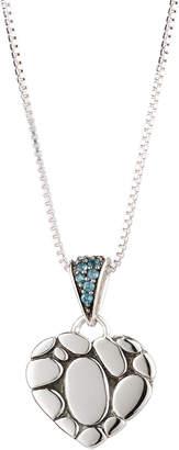 John Hardy Kali Lava Heart Pendant Necklace w/ Blue Topaz