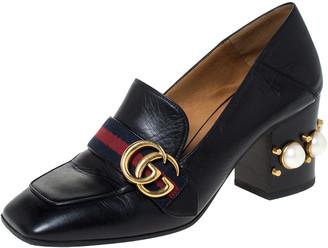Gucci Black Leather Peyton GG Web Detail Pearl Studded Pumps Size 37.5